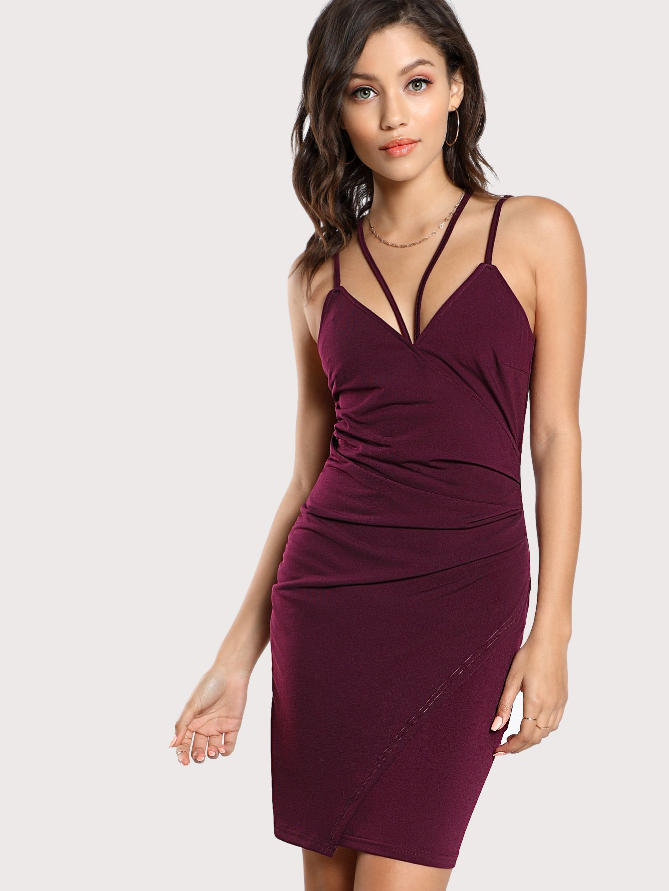 b7bbdf3735 Shop Surplice Strappy Slim Cami Dress online. SheIn offers Surplice Strappy  Slim Cami Dress & more to fit your fashionable needs.