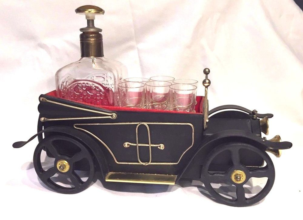 Vintage Musical Antique Car Bar Set with Decanter & 6 Shot Glasses ...