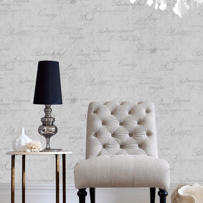 Concrete Script Wallpaper - Designer Gray Wall Coverings by Graham ...