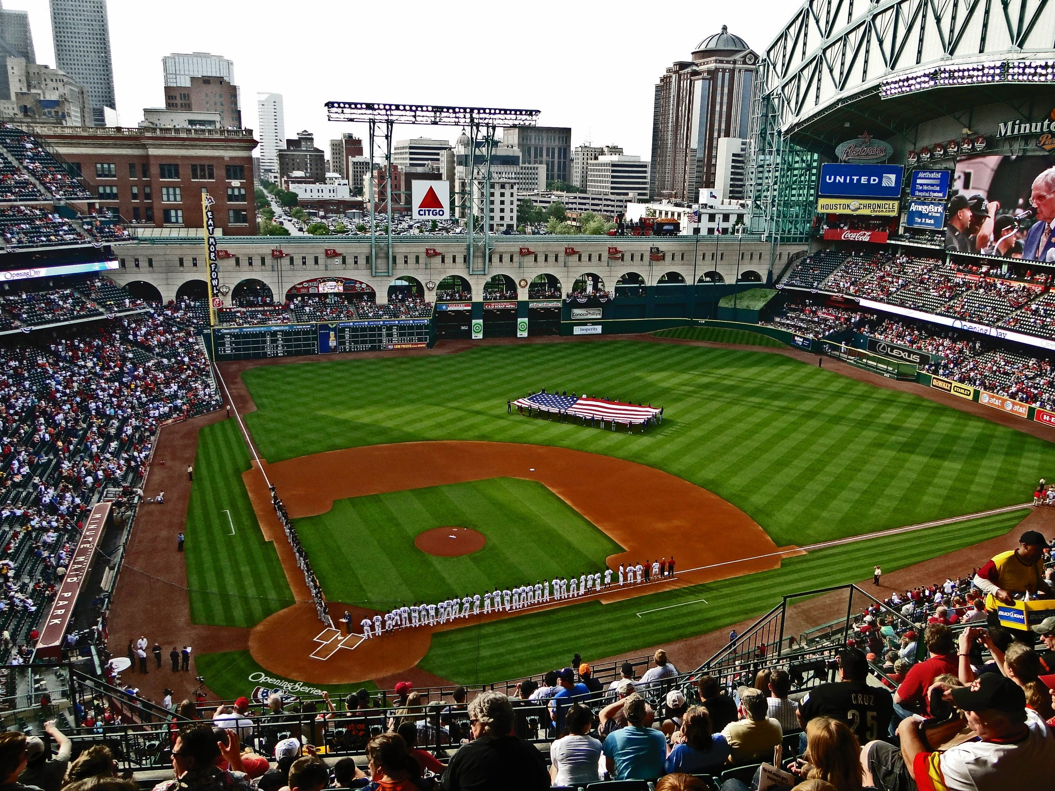 Minute Maid Park In Houston Love This Photo Because I Was There For Opening Day It Was A Minute Maid Park Minute Maid Park Houston Best Baseball Stadiums