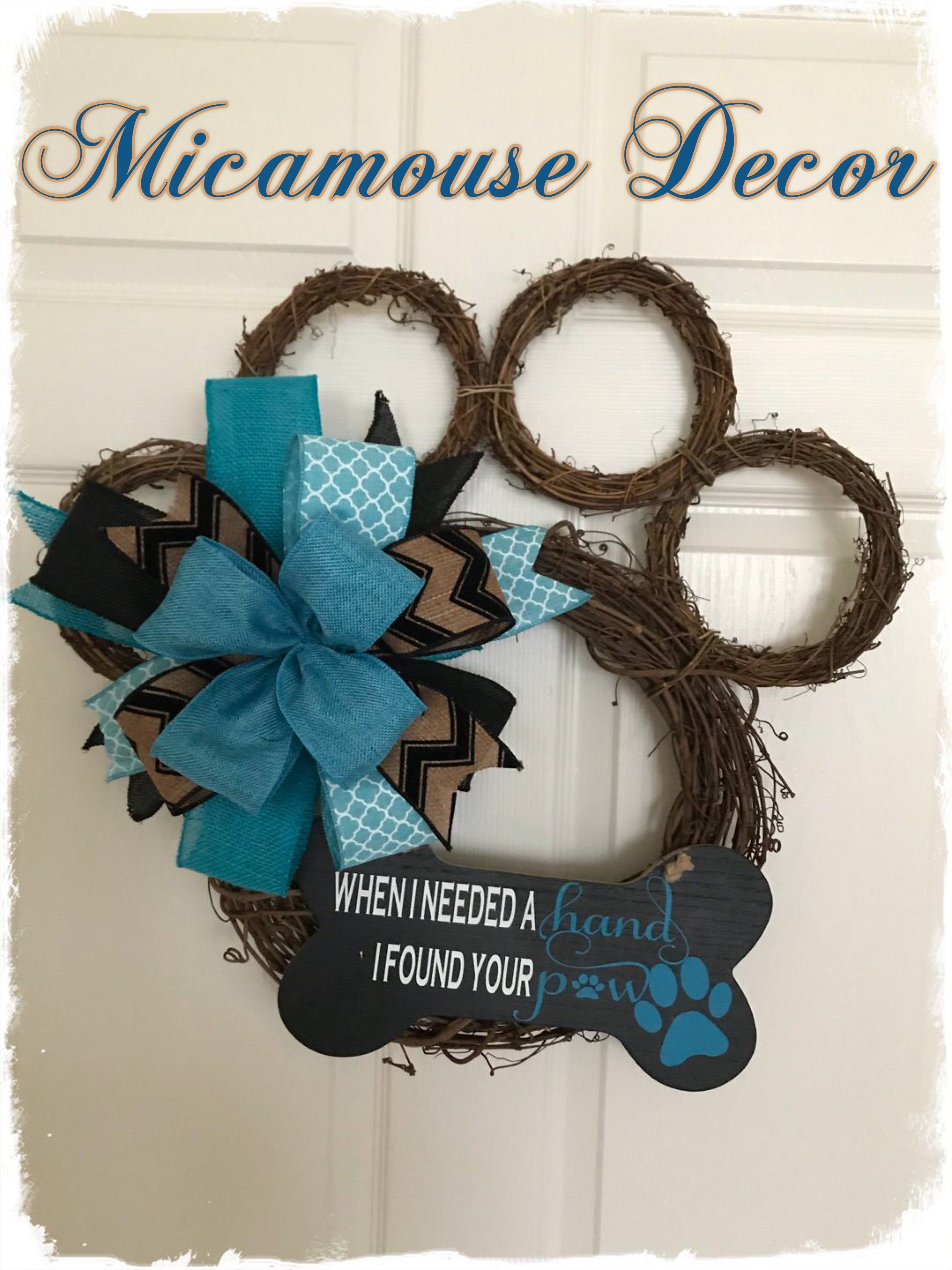 Paw Wreath $35 Plus Shipping Grapevine Paw Wreath Beautiful Turquoise