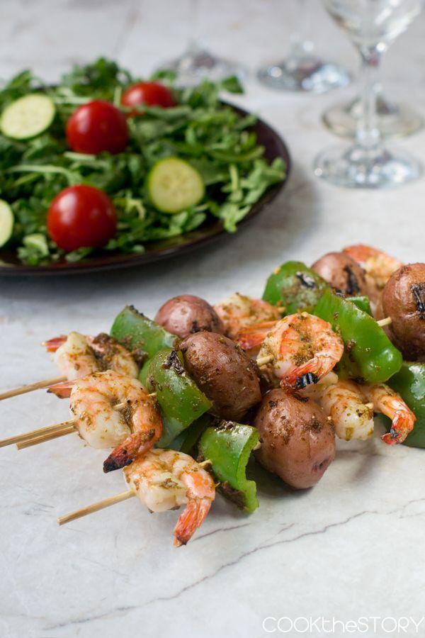 Grilled Shrimp and Potato Kebabs #grilledshrimp