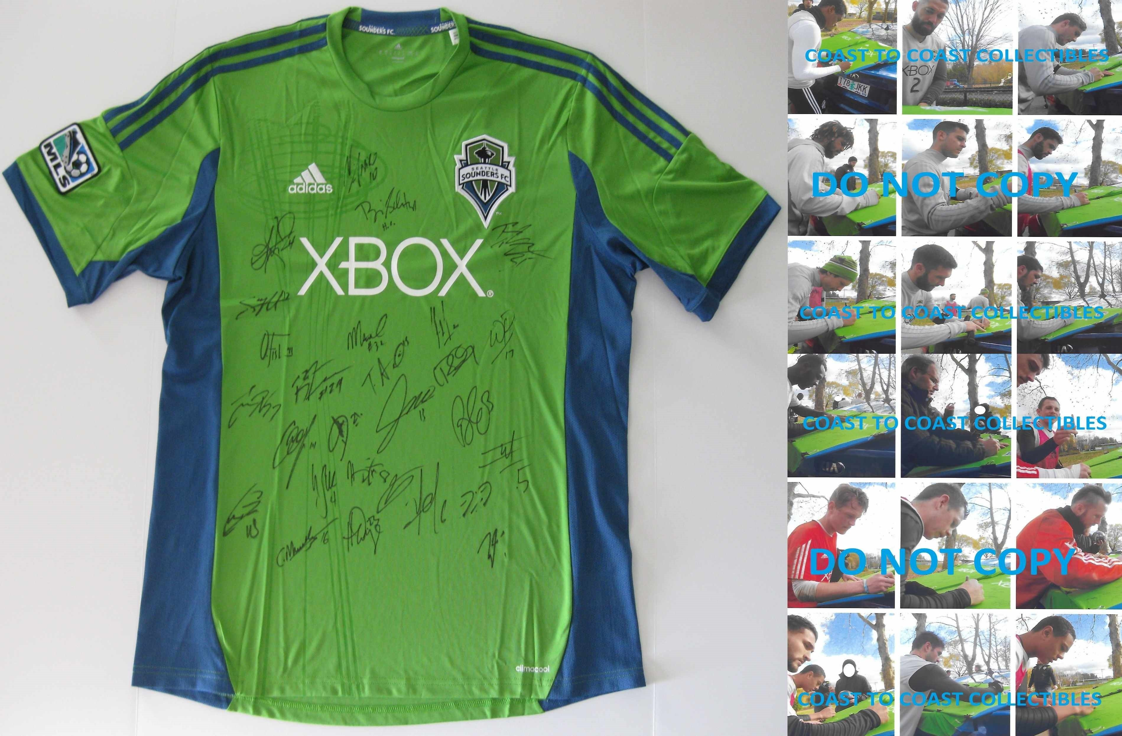 new arrival dc56f b79e8 2017 Seattle Sounders FC, Team, Signed, Autographed, Sounders Soccer Jersey ,.