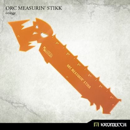 "This set contains one Orc Measurin' Stikk made from orange fluorescent acrylic.  It measures 6 inches along longest edge with edges of 3"", 2"" and 1"" for easier checking of most common distances."