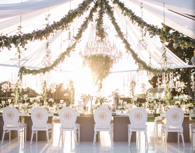 Photographer Jasmine Star Via Blush Botanicals; Dreamy white tent wedding reception with gorgeous lush greenery; & Screen Shot 2016-01-28 at 9.36.55 PM | Tent and ceiling decor ...