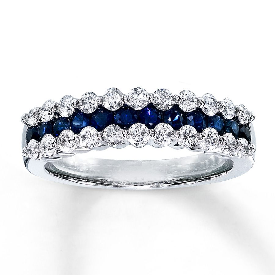 Jared Natural Blue Sapphire Ring 58 ct tw Diamond 14K White Gold