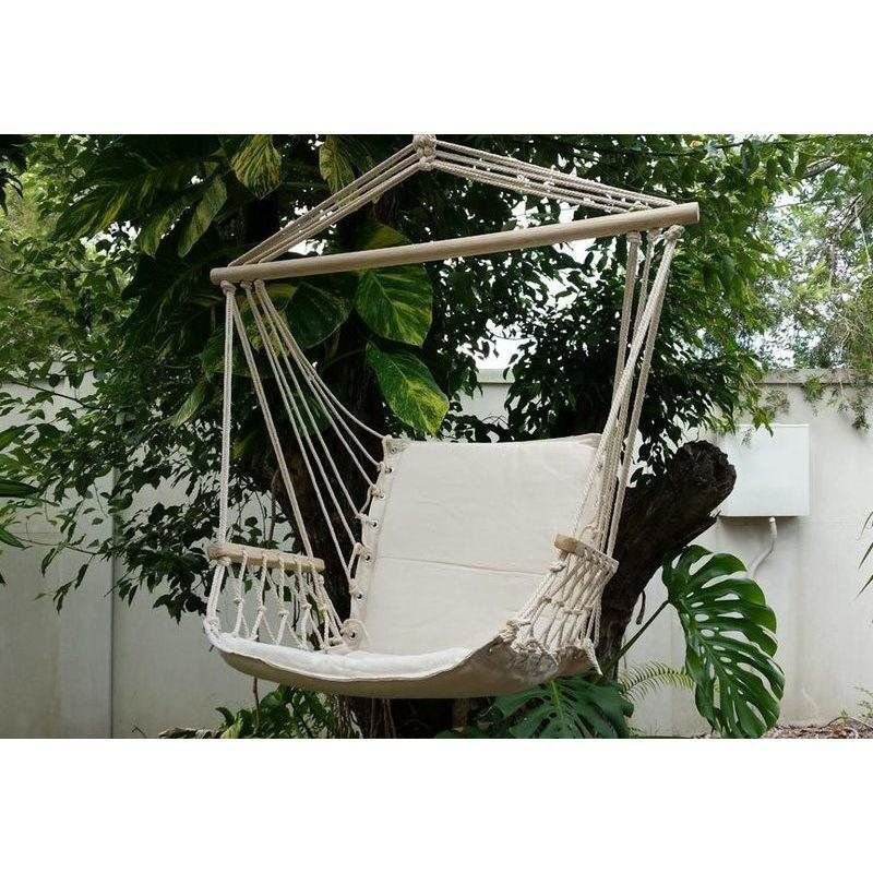Padded Hammock Chair With Wooden Arm Rests In Beige