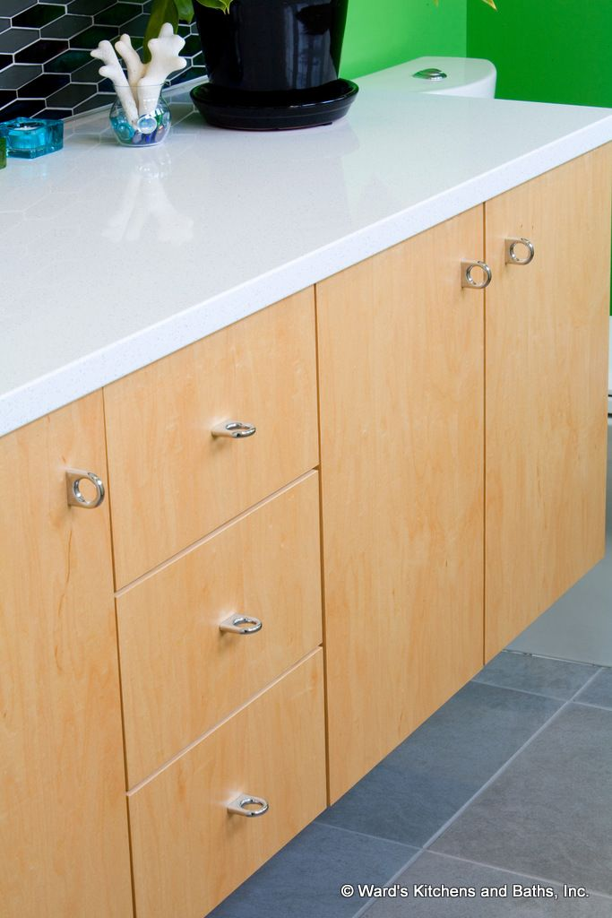 Natural Maple Bath Vanity Cabinets White Icestone Countertop