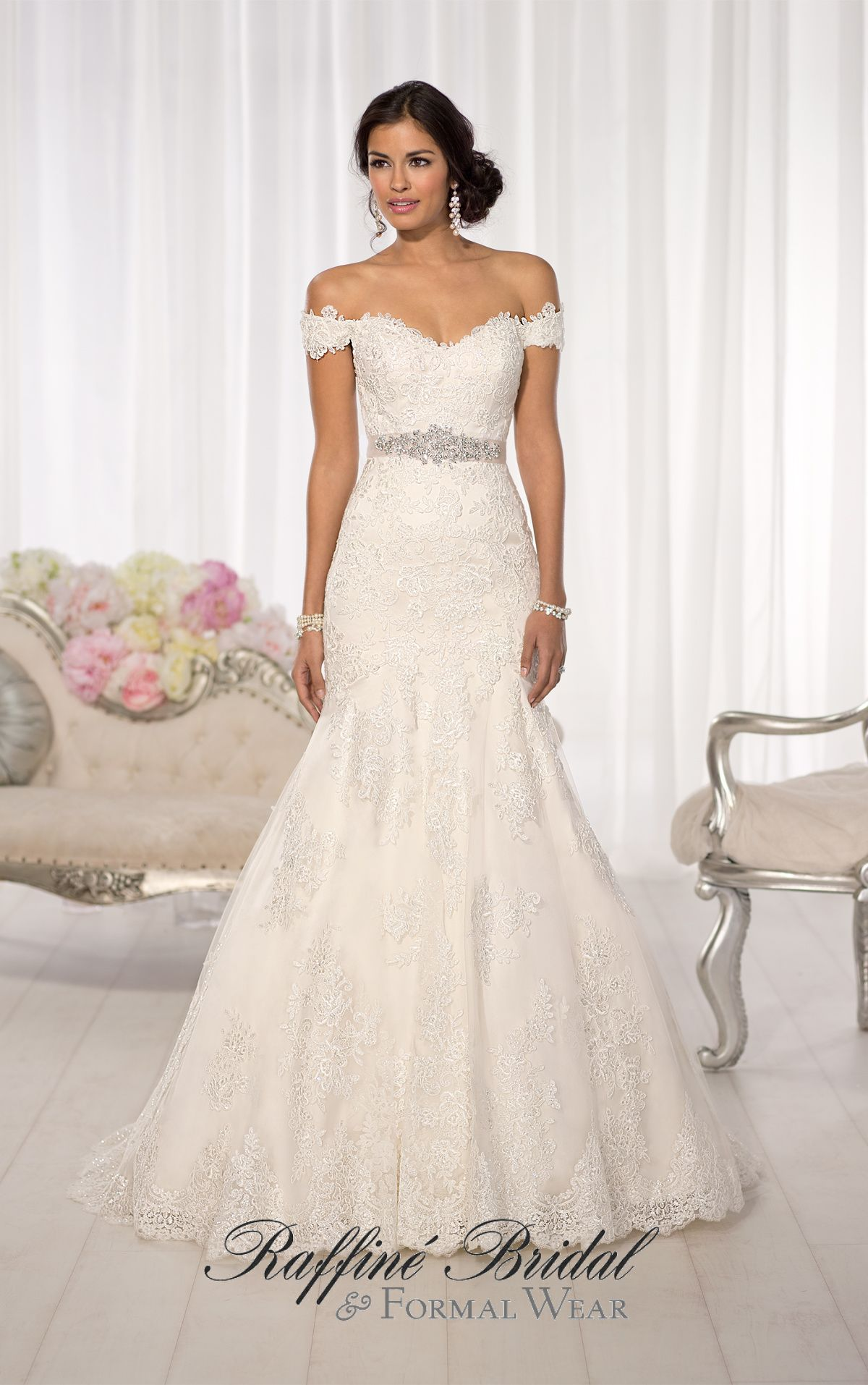 7fef4634f7c ... Australia  D1617 - All-over Lace fit and flare wedding gown featuring  sparkling Diamante beading throughout and romantic off the shoulder cap  sleeves.