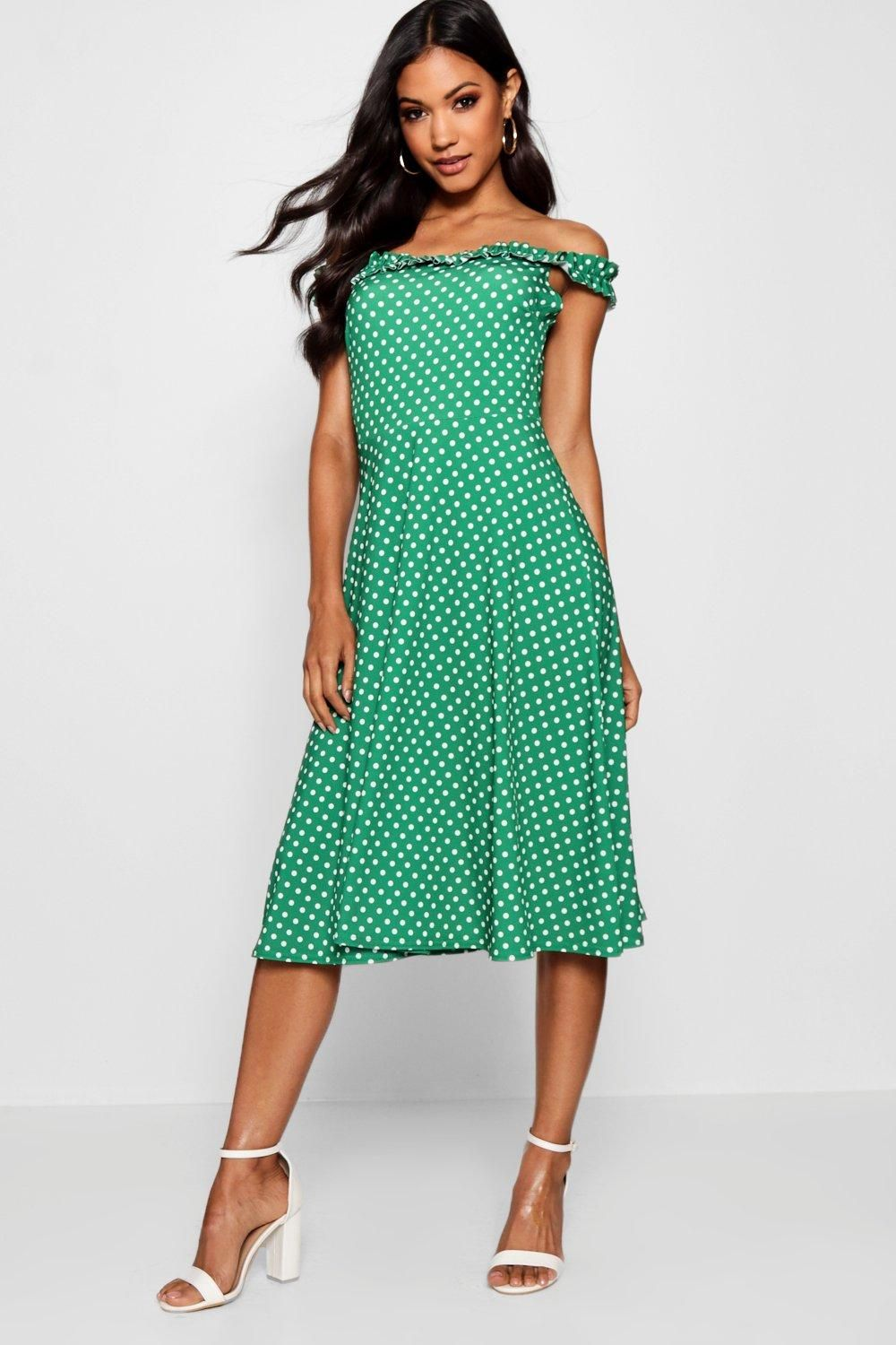 Click here to find out about the Frill Neck Edge Polka Dot Midi Skater Dress  from Boohoo b335026ce