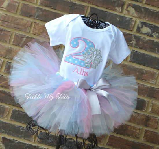 Winter ONEderland Baby Blue Polka Dot and Pink Snowflake Birthday Tutu Outfit...www.ticklemytutu.com