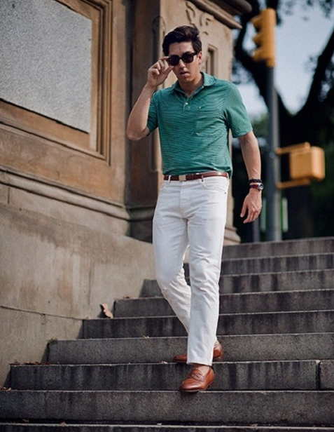 men wearing white jeans short sleeve shirt in green | White Attire ...