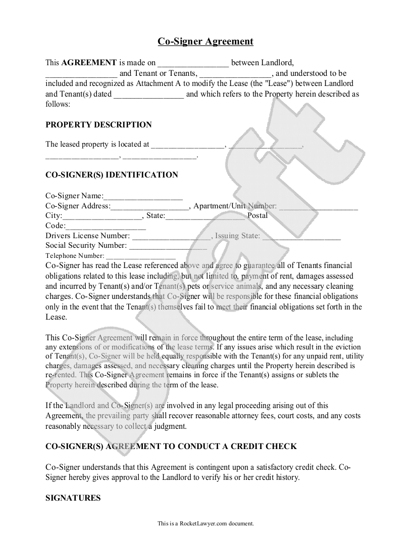 Sample CoSigner Agreement Form Template  Rental Forms