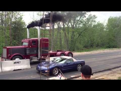 Coga Semi Truck Vs Chevrolet Corvette Drag Race Truckviewtv