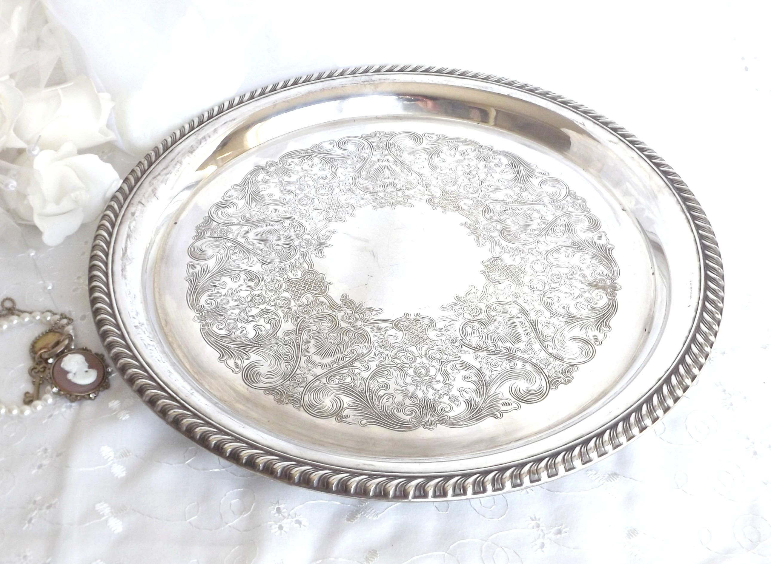 Silver Plated Vanity Tray, Serving Tray, Home Decor, French Farmhouse,  Cottage Chic