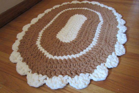 oval rag rug crocheted mat washable