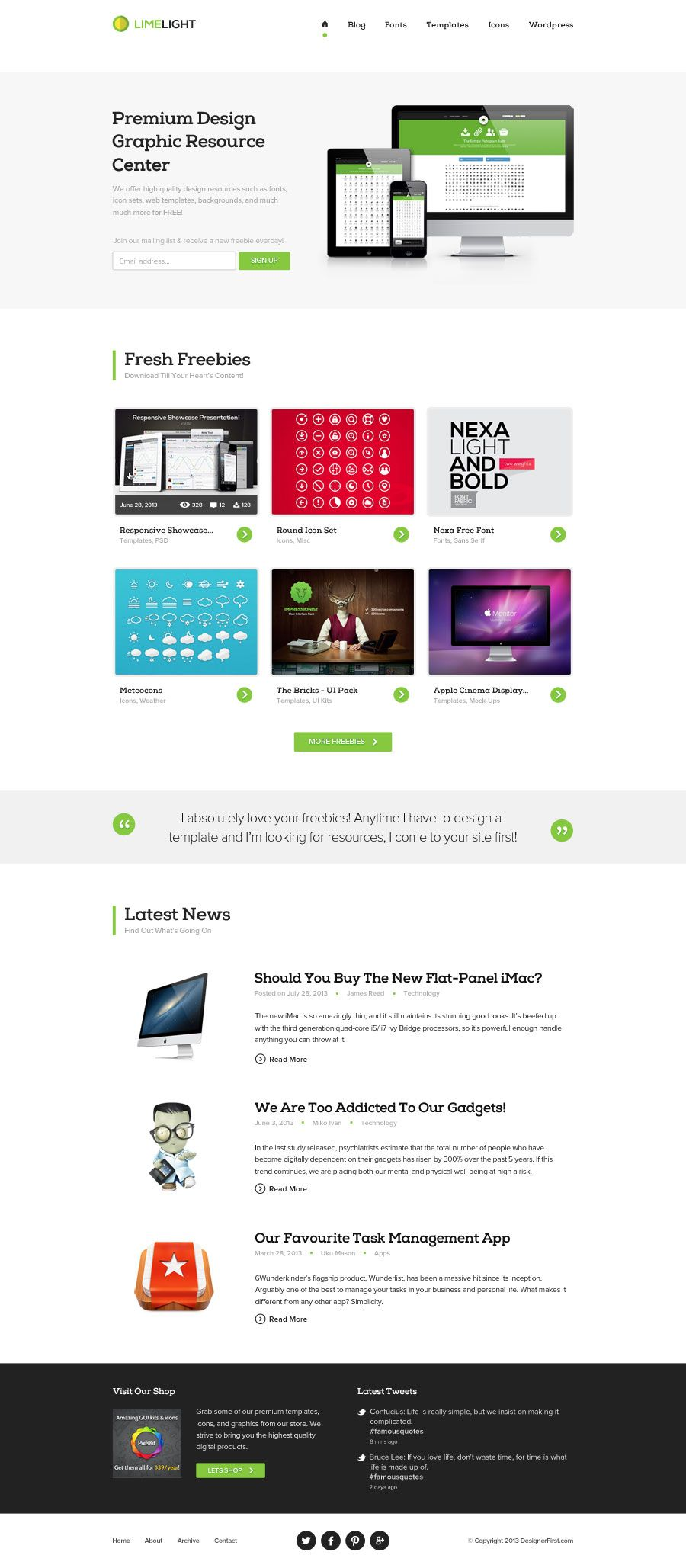 Limelight Home Free Template Free Web Template Web Design Resources Psd Templates