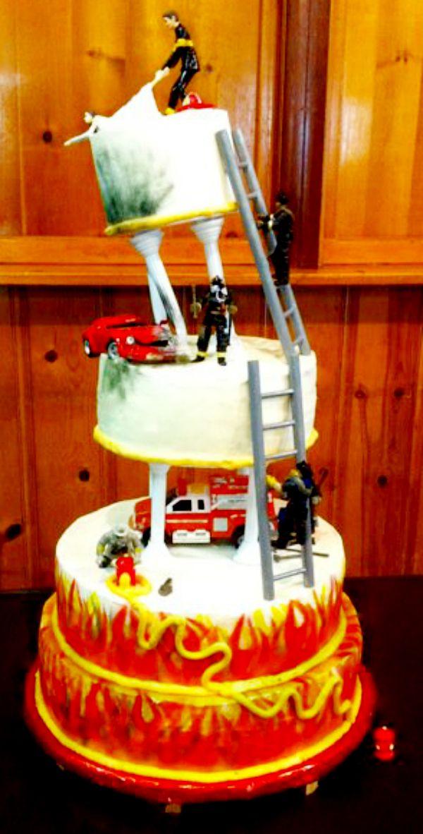 Fire Fighter Wedding Cake  Firefighter Wedding  Firefighter Wedding Fireman wedding Fire