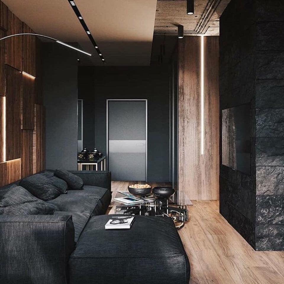 Black Theme Living Room Minimalism Interior