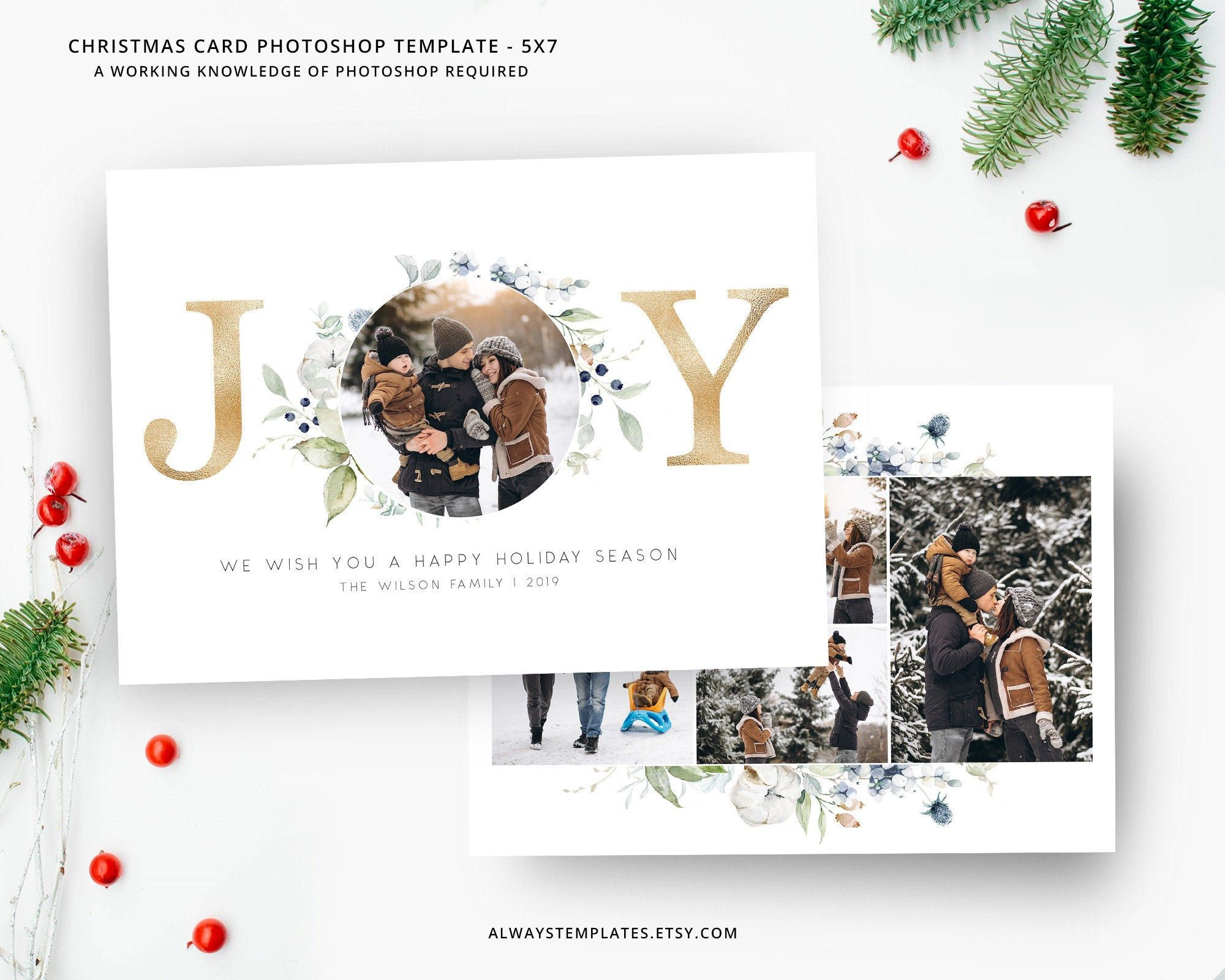 Joy Photo Christmas Card Template Christmas Card Template Etsy Christmas Photo Card Template Holiday Card Template Photoshop Christmas Card Template