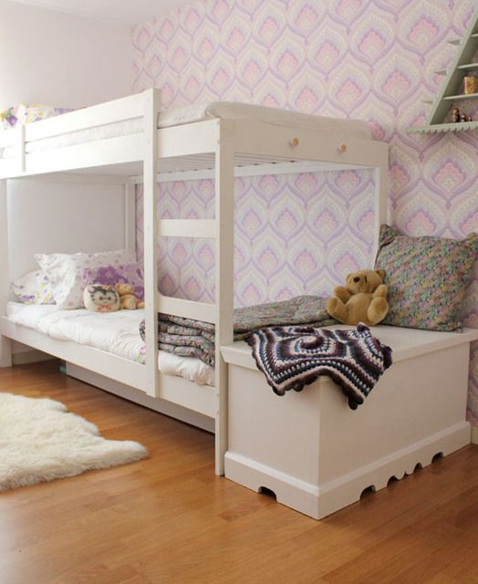 IKEA bunk beds, shared kids room.  home decor and interior decorating ideas.  wallpaper.  kids room.  girls bedroom.