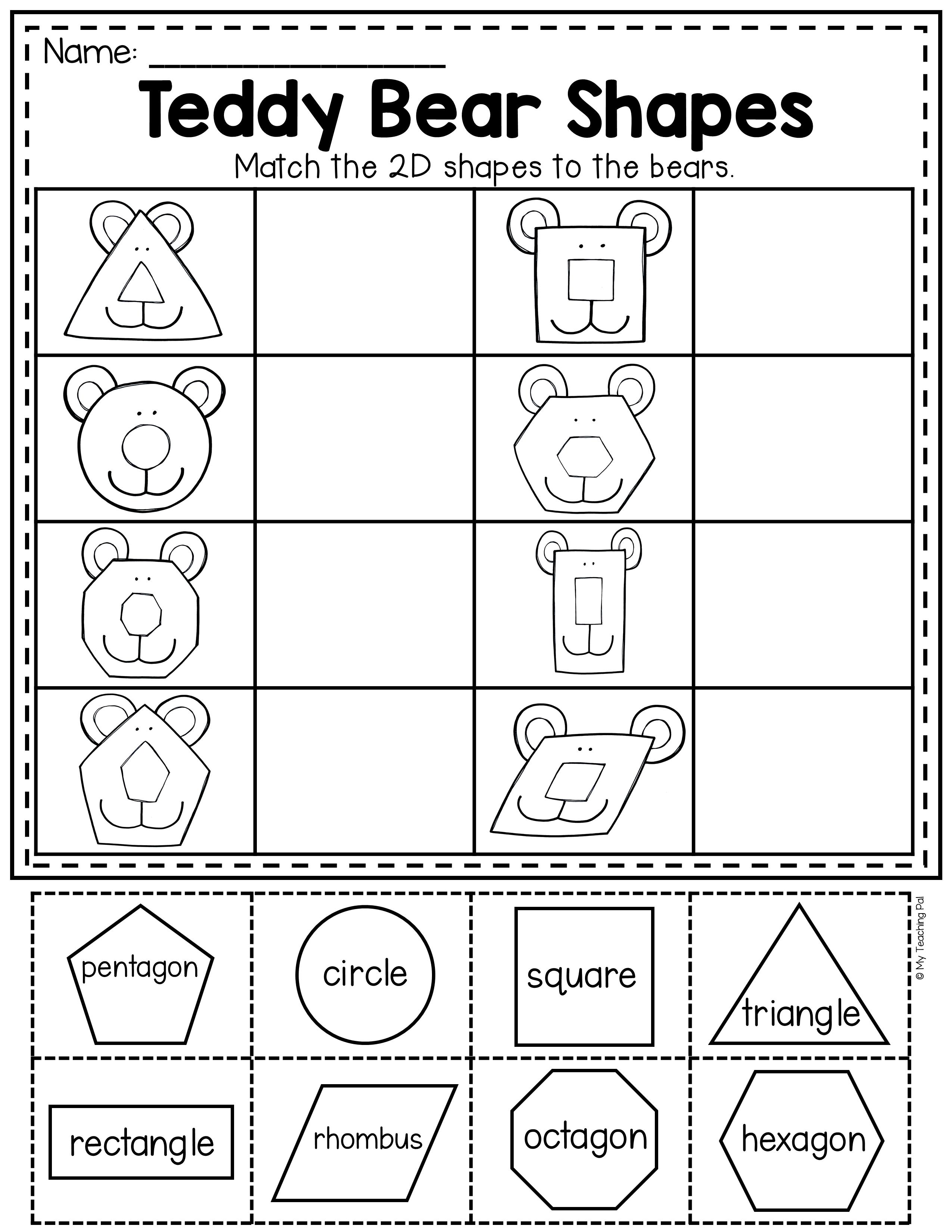2d Teddy Bear Shapes Worksheet Summer Math Worksheets 3d Shapes Worksheets Shapes Worksheets