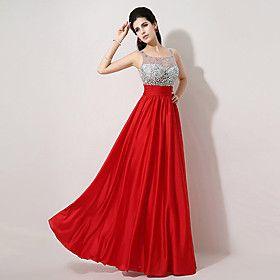 A-line Scoop Floor-length Evening Dress