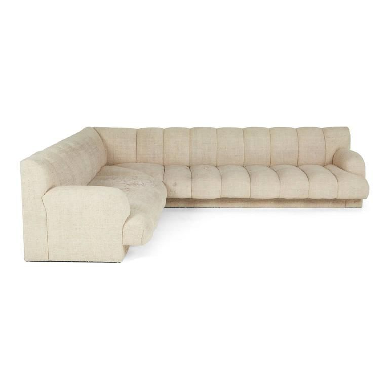 Steve Chase Channel Tufted L Shape Sectional Sofa 1986 L Shaped