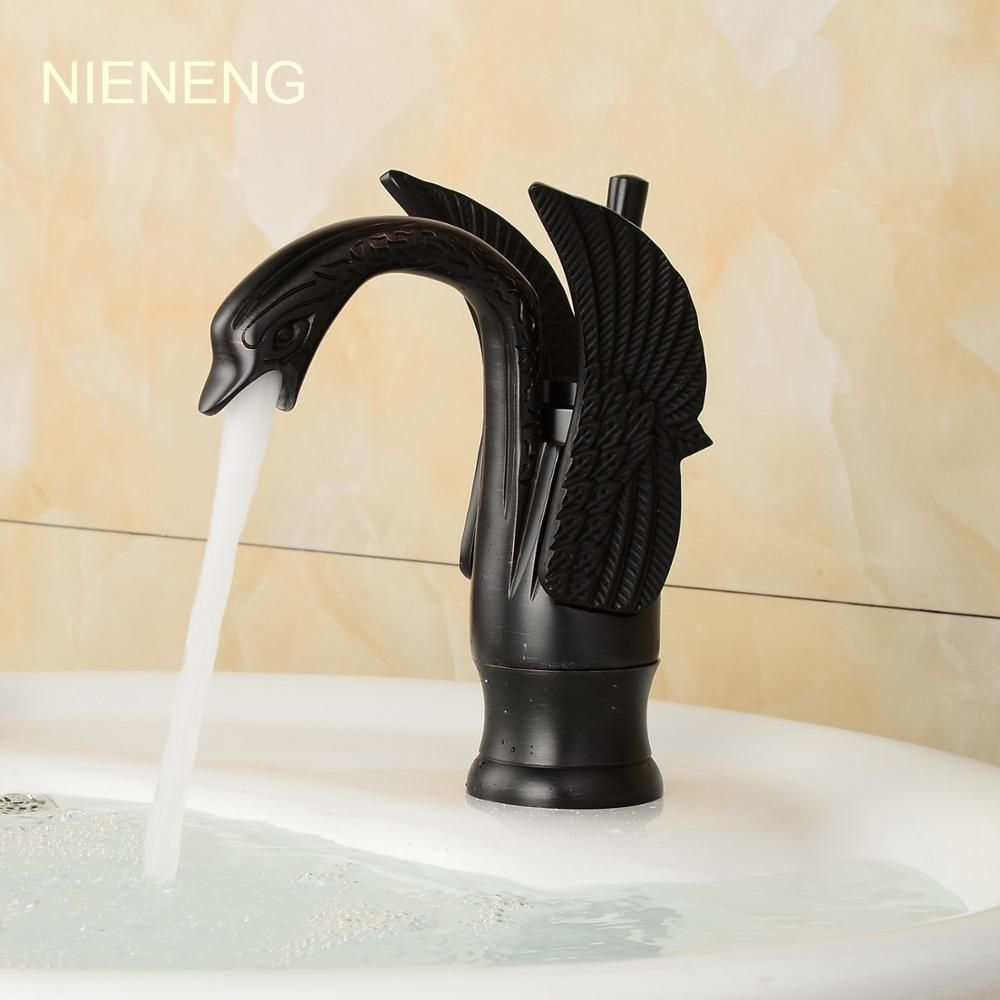 NIENENG black swan faucets sink mixer water bathroom faucet fashion ...