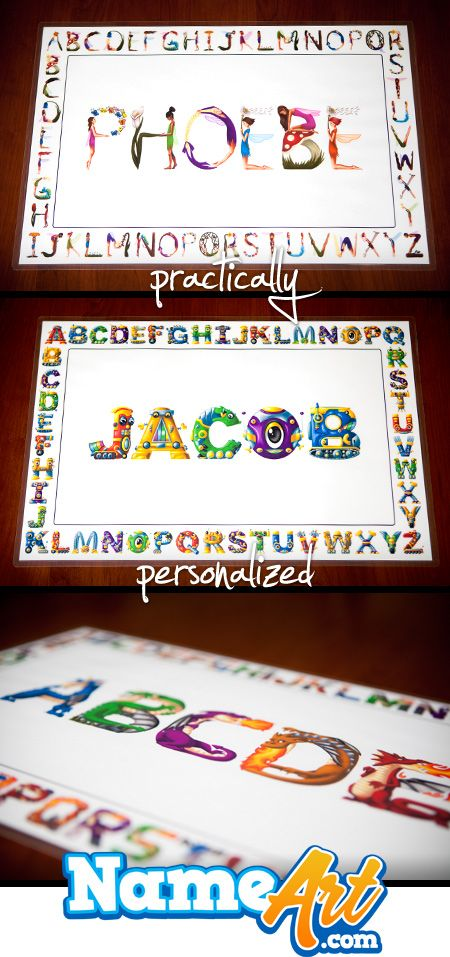 Personalized Placemats For Kids Personalized Name Art Www Nameart Com Personalized Gifts For Kids Personalised Placemats Placemats Kids