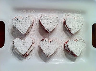 Red velvet whoopie pies with marshmallow filling.