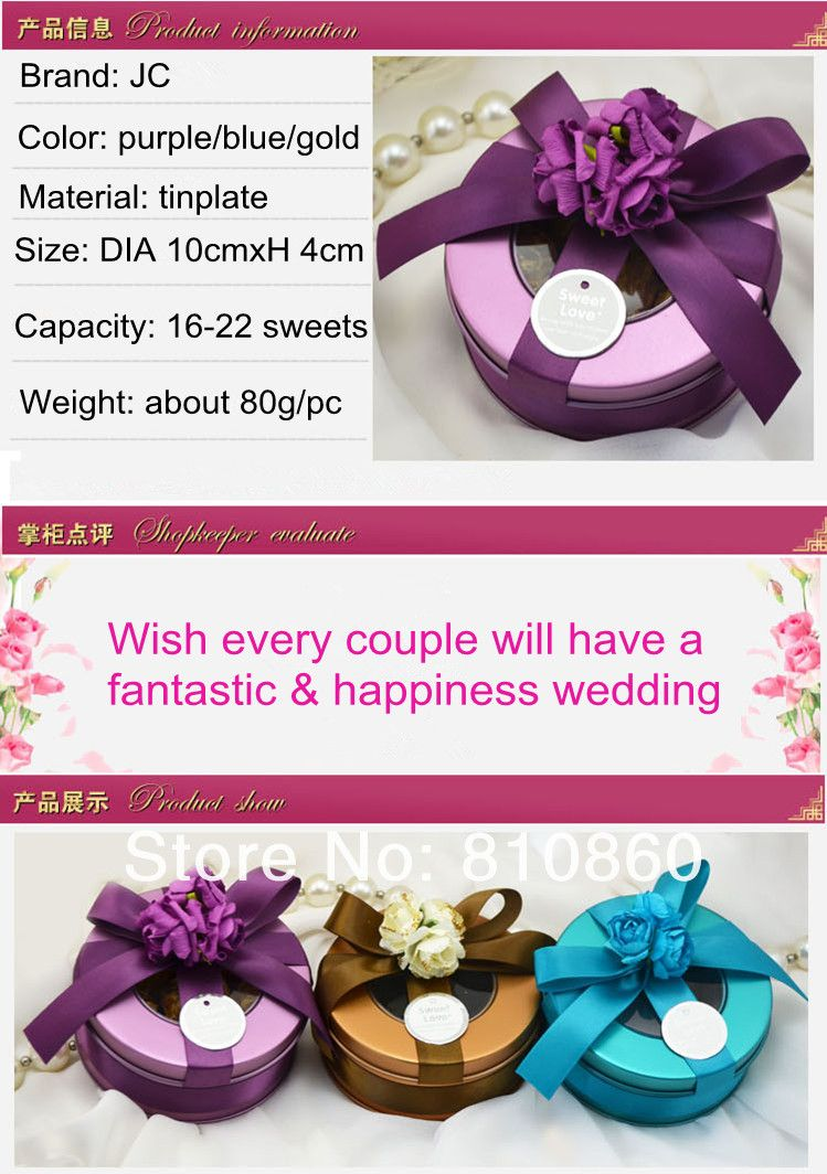 Personalized European Style Round Wedding Favors and Gift Tin Box ...