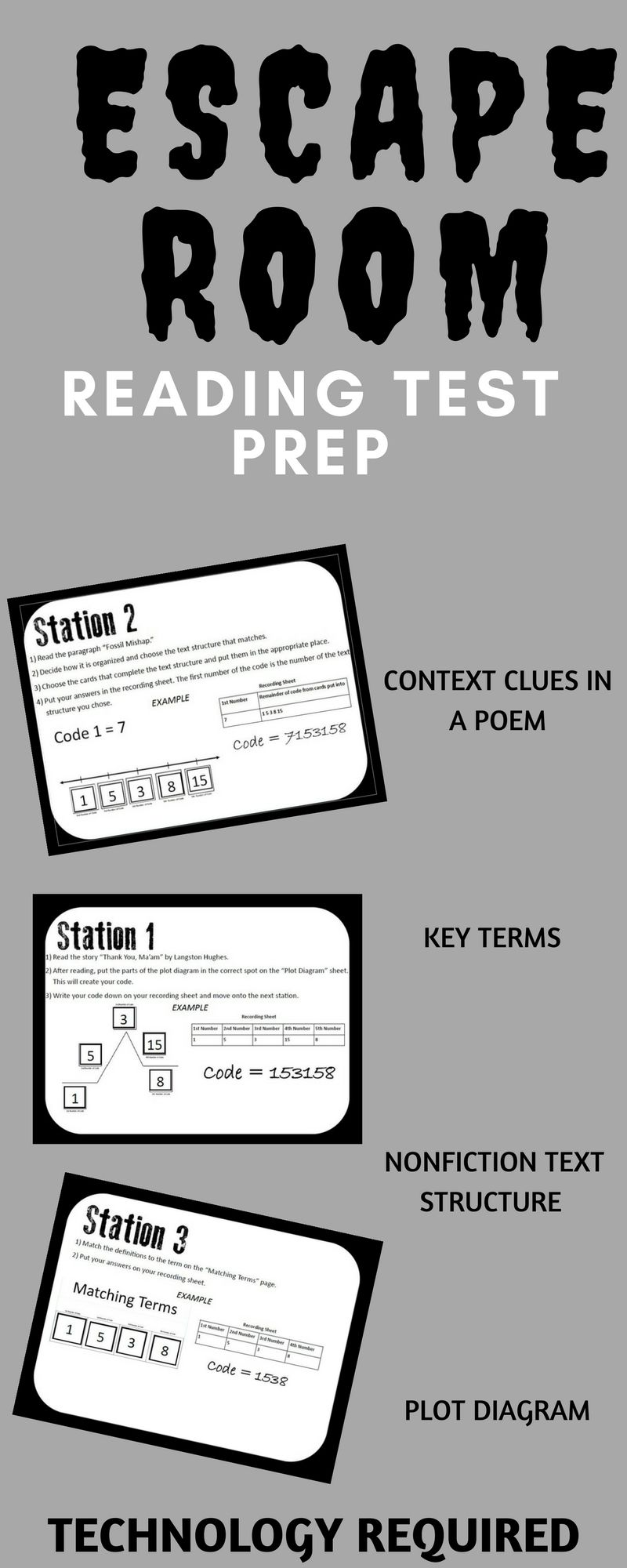 includes context clues station non fiction text structure plot diagram practice and practice with common reading vocabulary terms  [ 800 x 2000 Pixel ]
