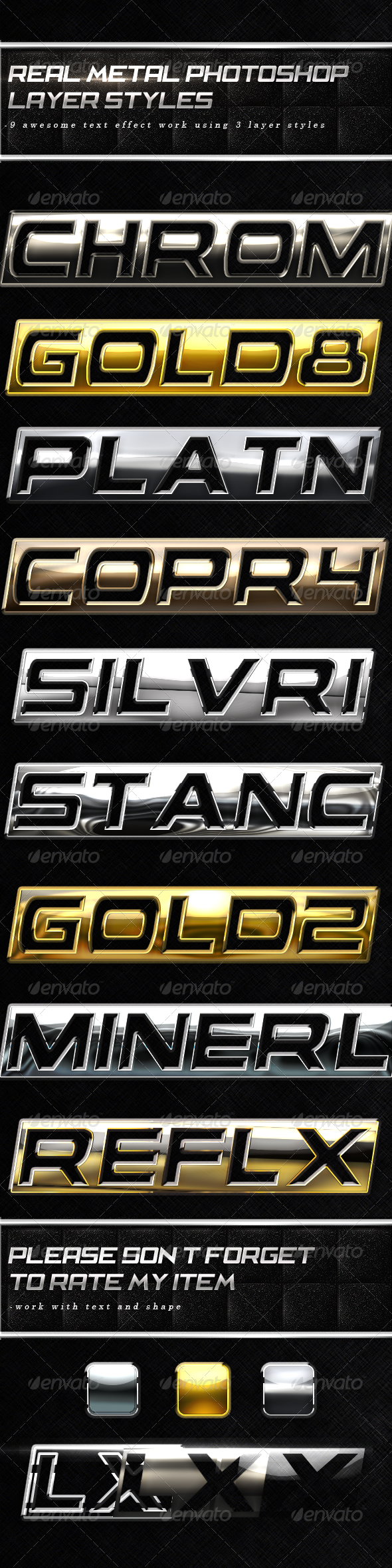 Real Metal Layer Styles 1 Text Effects Styles
