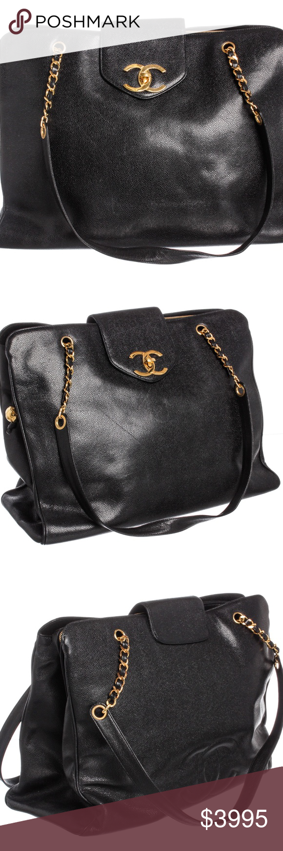 cbb7d2b120b5a4 Chanel Black Caviar Vintage Supermodel Tote Bag Black Caviar leather  vintage Chanel Supermodel Tote with gold