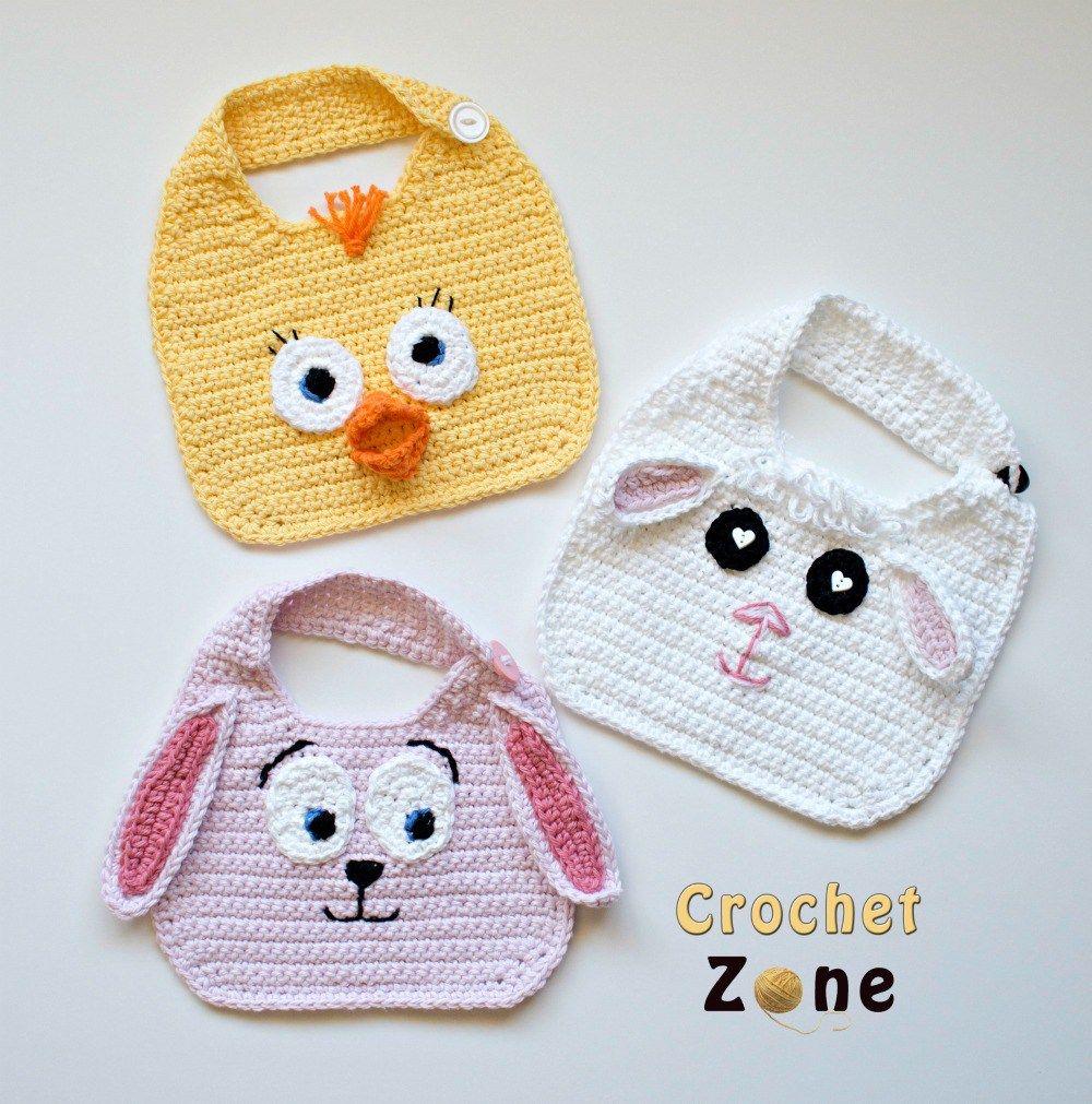 Free Crochet Pattern: Animal Friends Bibs on CrochetZone.com | Baby ...