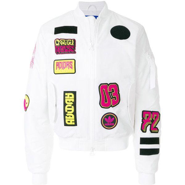 9eb488b55 Adidas logo patchwork bomber jacket ($227) ❤ liked on Polyvore ...