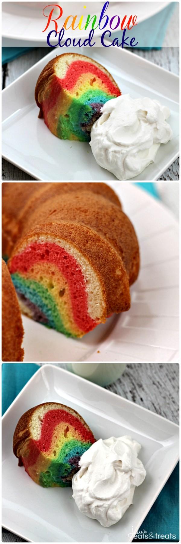 레인보우 마블 번트 클라우드 케이크