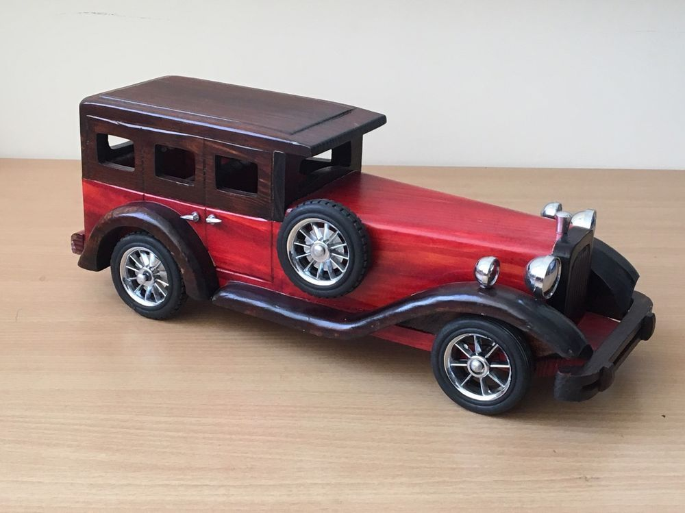 Vintage Wooden Car Collectors Realistic Classic Car Red Model Toy ...