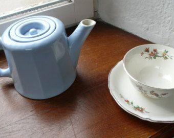 Baby Blue Teapot, Vintage Coffee Pot, 1950s Kitchenalia, French Vintage Interiors, Vintage Round Ceramic Teapot, Retro Blue teapot -       Edit Listing   - Etsy