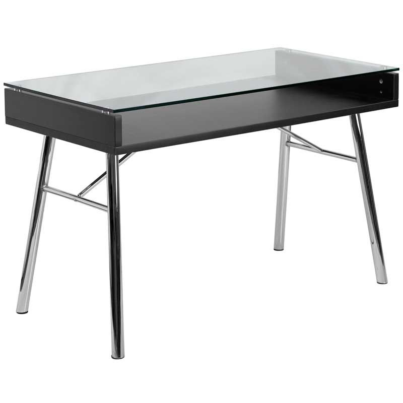 Brettford Desk With Tempered Glass Top Flash Furniture Glass Top Desk Glass Desk
