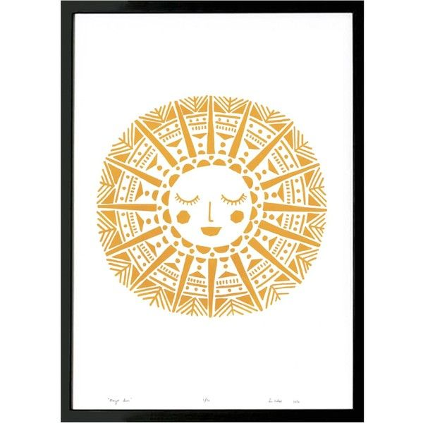 Lu West - Maya Sun Screen Print in Yellow Ochre ($77) ❤ liked on ...