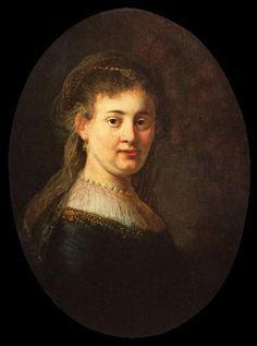 """""""Young Woman in Fantasy Costume. Portrait of a Woman"""", thought to be Rembrandt´s Wife Saskia van Uylenburgh (1612-1642). 1633. Oil on panel. 65x48 cm. By Rembrandt Harmenszoon van Rijn."""