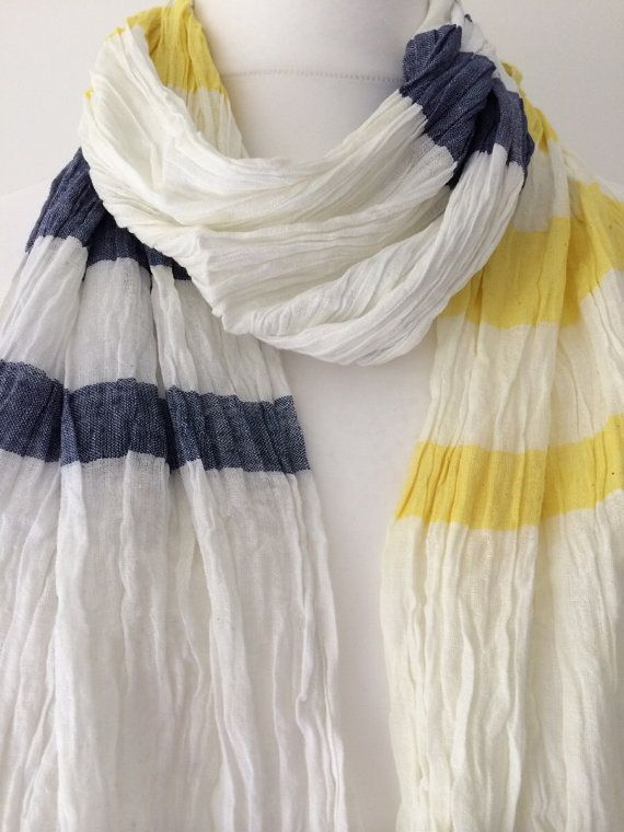 43ca1ef7c White Scarf Navy Blue and Yellow Stripes, Cotton Crinkle Scarf, Ladies  Striped Wrap shawl, Fair Trade