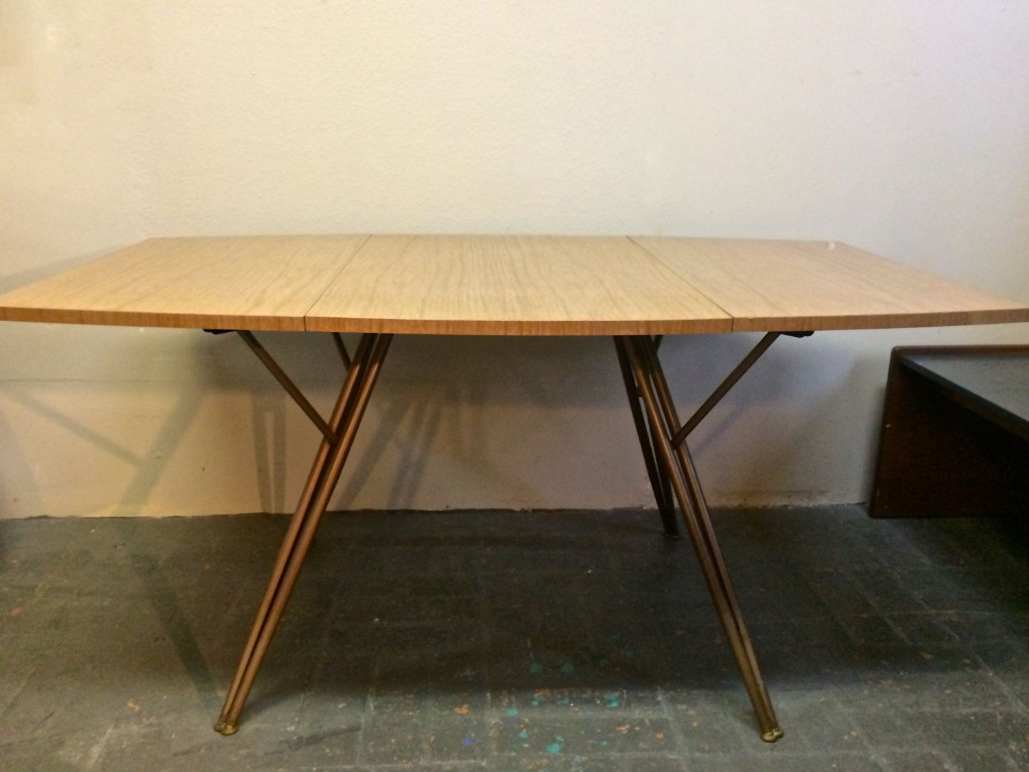 Mid Century Modern Large Drop Leaf Table With Hairpin Gate Legs