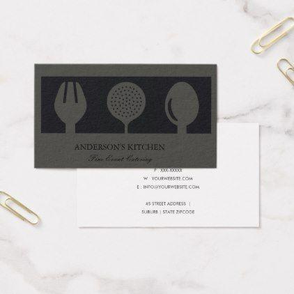 Chef Elegant Minimal Grey Black Skimmer Spoon Fork Chef Business Card Business Cards Elegant Business Cards Simple Business Card Black
