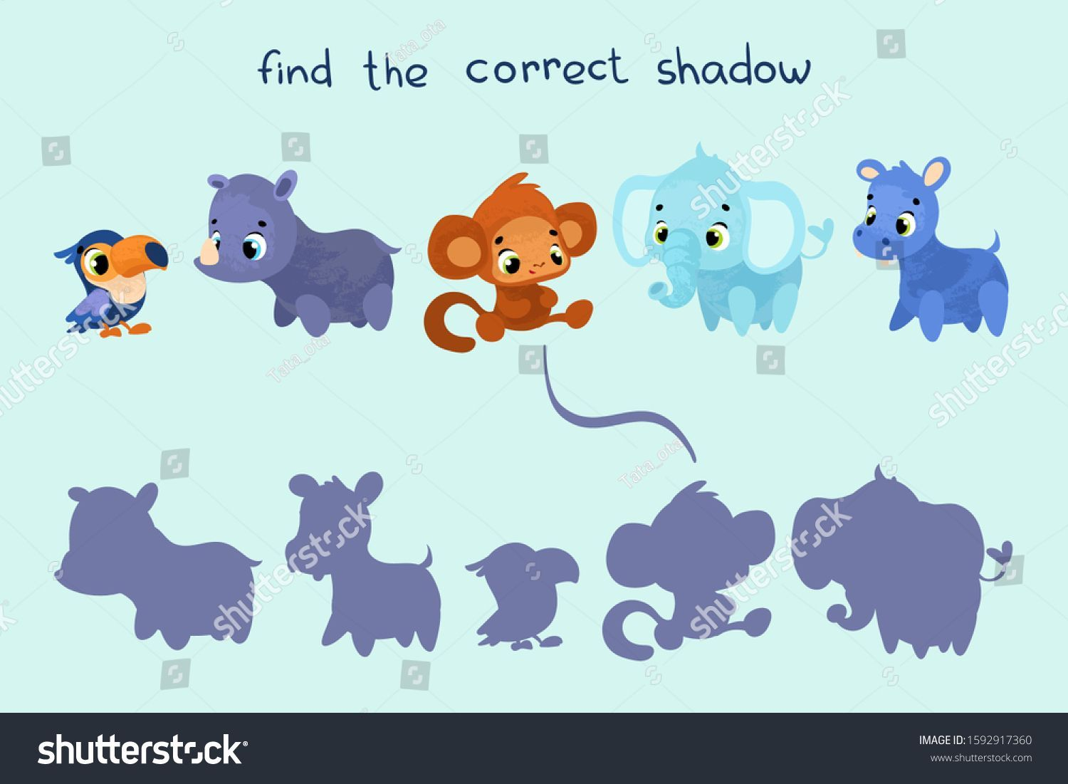 Find Correct Shadow Educational Game Children Stock Vector