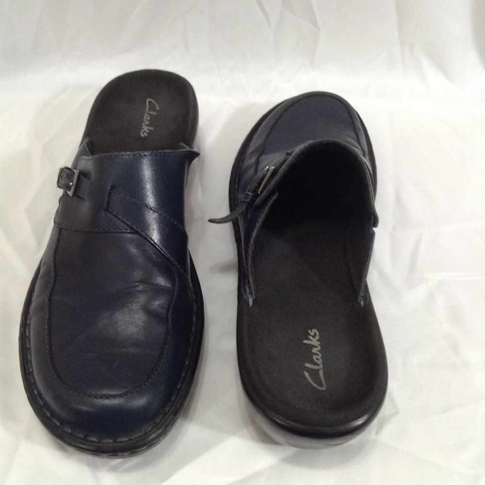 Clarks 9.5 N Navy Blue Leather Clogs Mules Slides Buckle Womans Slip On  Shoes