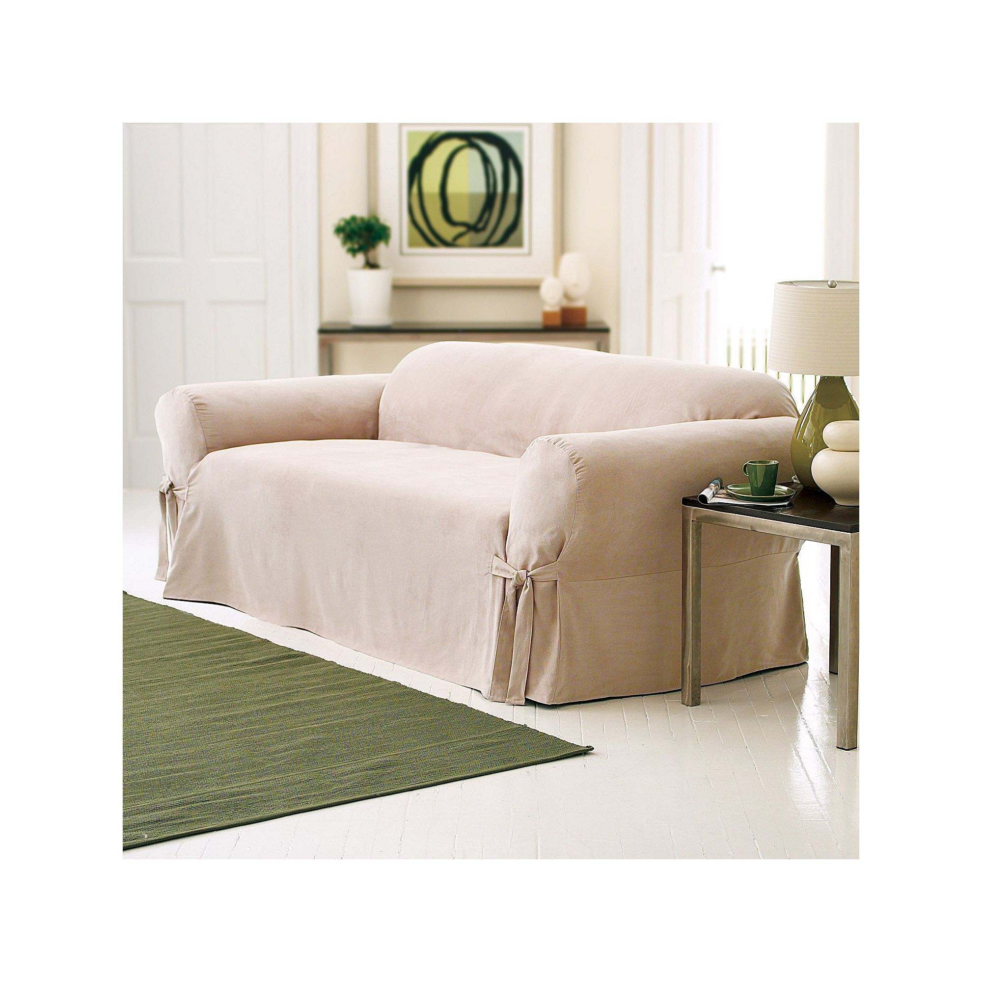 Sure Fit Faux Suede Sofa Slipcover, Dark Beige