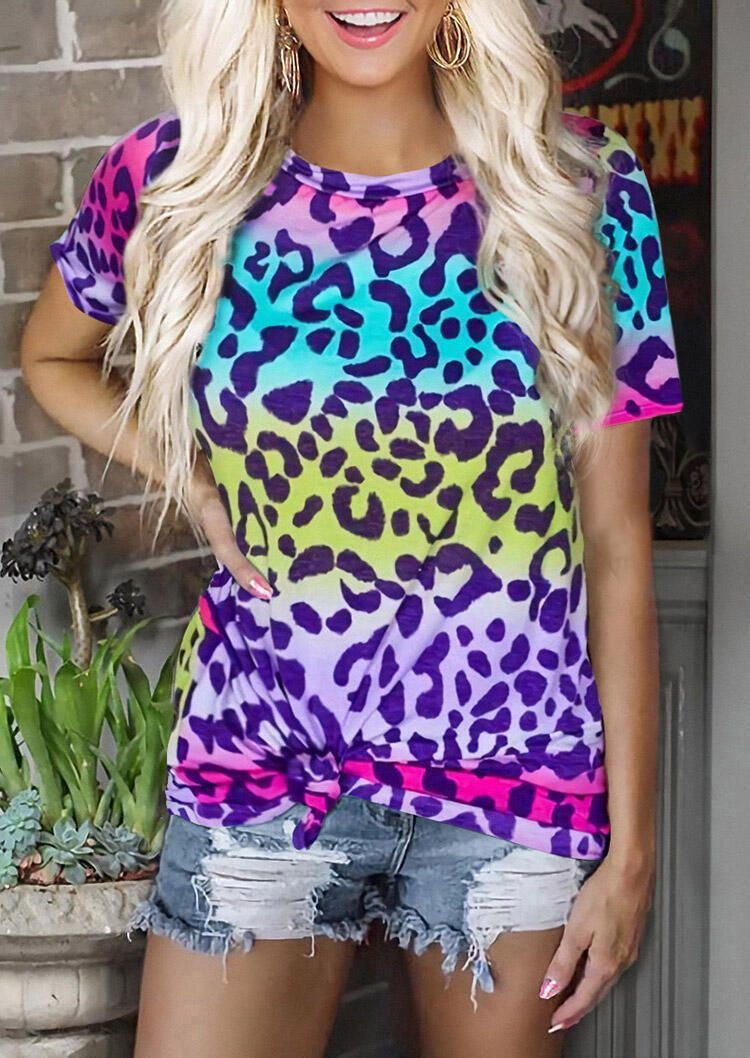 Womens Leopard Printing T-Shirt Gradient Short Sleeve Tops O-Neck Casual Blouse